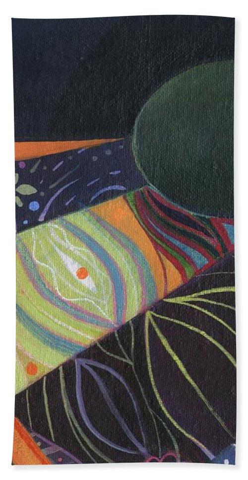 Avocado Hand Towel featuring the painting Persistence Of Perception Aka P O P by Helena Tiainen