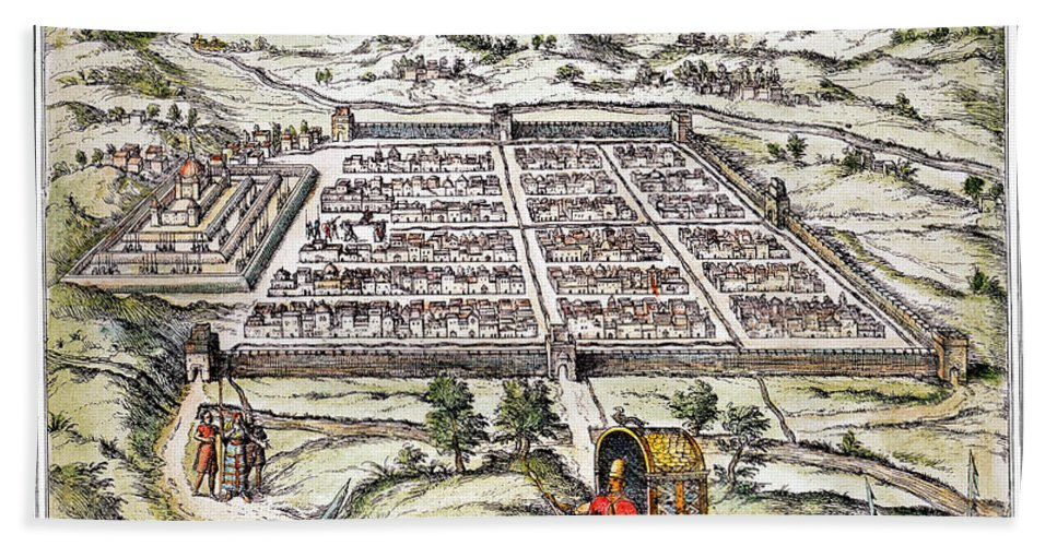 1572 Hand Towel featuring the photograph Peru: Cuzco, 1572 by Granger