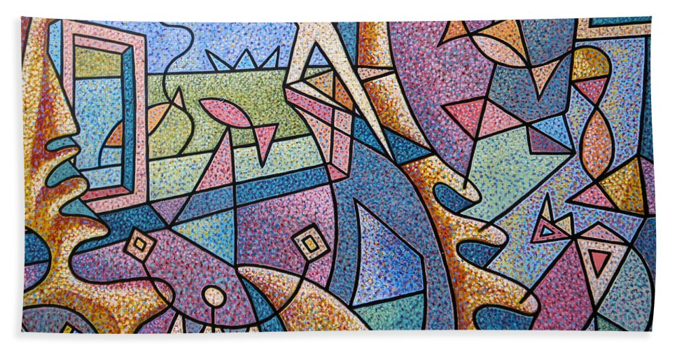 Pointillism Window Fisherman Fish Cat Window Sea Sky Star Curtain Hat Man Curves Ocean Architectural Elements Animal Sea Acrylic Canvas Perspective Action Colorful View Landscape Doors Room Interior Illusion Staircase Steps Kneeling Fishing Rod Sun Sunrise Sunset Shapes Movement View Abstract Blue Orange Pink Lines Drawing Labyrinth Unconscious Mind Soul Spiritual Positive Message Metaphor  Hand Towel featuring the painting Pescador De Ilusoes - Fisherman Of Illusions by Marcio Melo