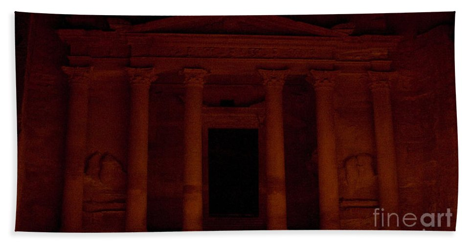 Petra Candlelight Evening Hand Towel featuring the relief Petra A Light by Frank Welder