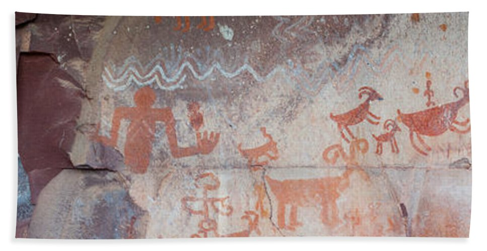 Photography Bath Towel featuring the photograph Petroglyphs On Rock, Palatki Ruins by Panoramic Images