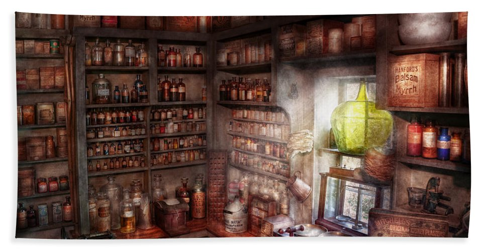 Doctor Hand Towel featuring the photograph Pharmacy - Equipment - Merlin's Study by Mike Savad