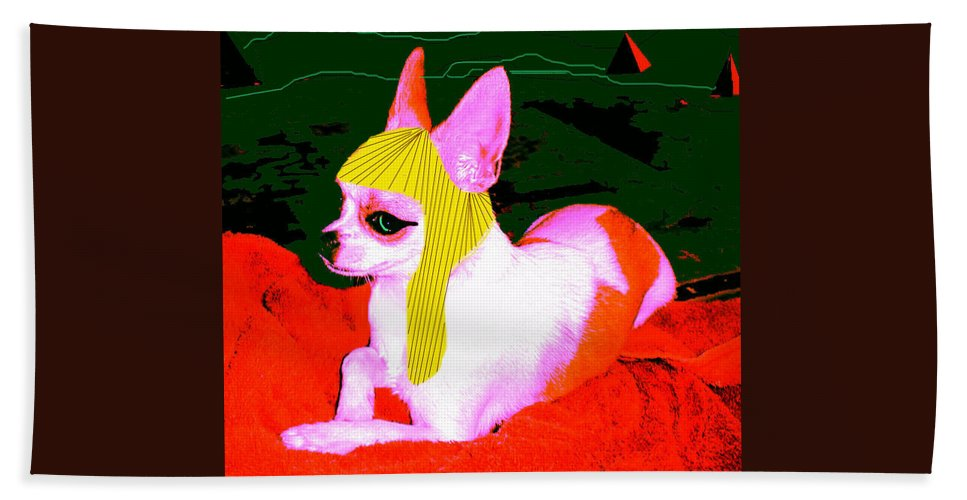 Chihuahua Hand Towel featuring the photograph Pharoah Chachi by Leah Delano
