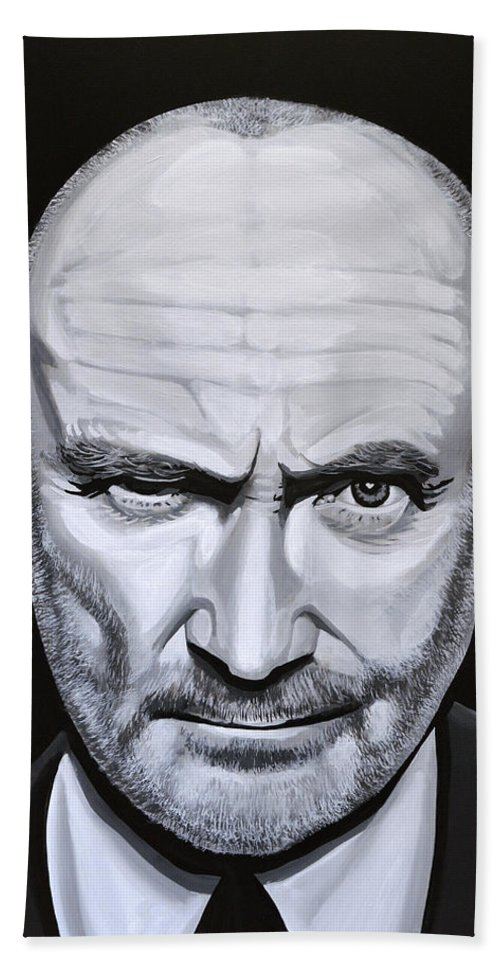 Phil Collins Bath Towel featuring the painting Phil Collins by Paul Meijering