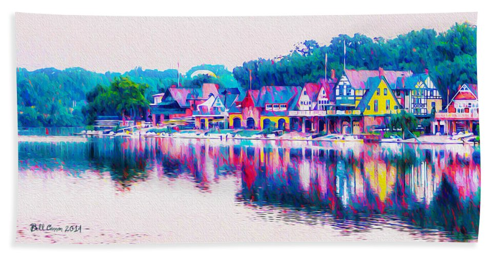 Philadelphia's Hand Towel featuring the photograph Philadelphia's Boathouse Row On The Schuylkill River by Bill Cannon