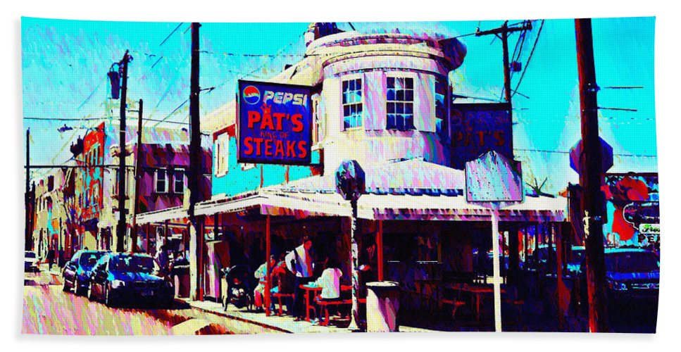 Philadelphia's Hand Towel featuring the photograph Philadelphia's Pat's Steaks by Bill Cannon