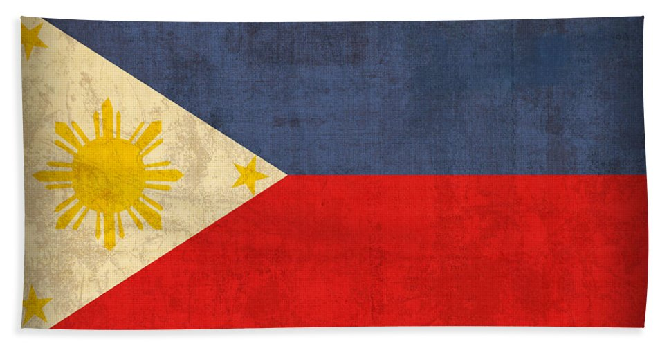 Philippines Bath Towel featuring the mixed media Philippines Flag Vintage Distressed Finish by Design Turnpike