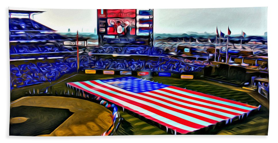 American Flag Phillies Stadium Scenic Citizens Bank Philadelphia Alicegipsonphotographs Bath Sheet featuring the photograph Phillies American by Alice Gipson