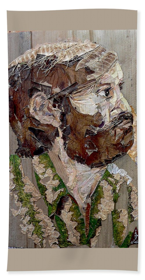 Portrait Hand Towel featuring the mixed media Philospher's Vision by Basant Soni