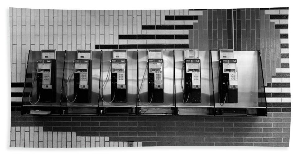 Phone Bath Sheet featuring the photograph Pay Phones 1b by Andrew Fare