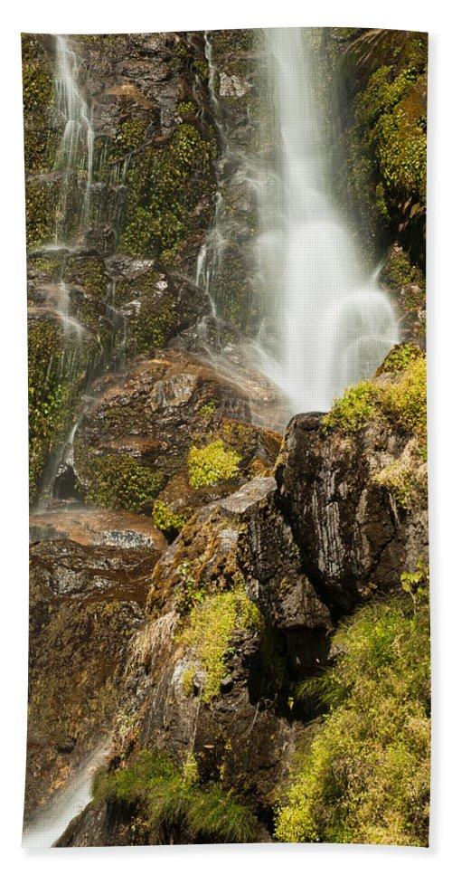 Himalaya Hand Towel featuring the photograph Photeng Waterfall by U Schade