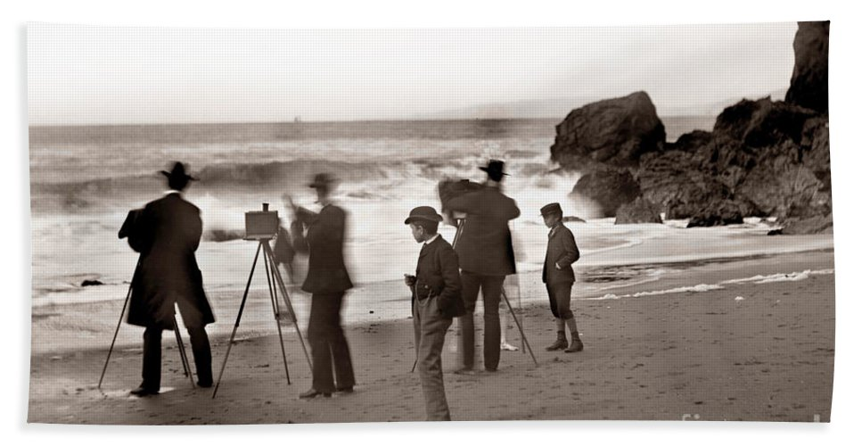 On The California Hand Towel featuring the photograph Photographer On The Beach California Circa 1887 by California Views Mr Pat Hathaway Archives