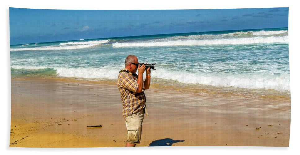 Photographer Hand Towel featuring the photograph Photorgapher Near The Ocean by Viktor Birkus