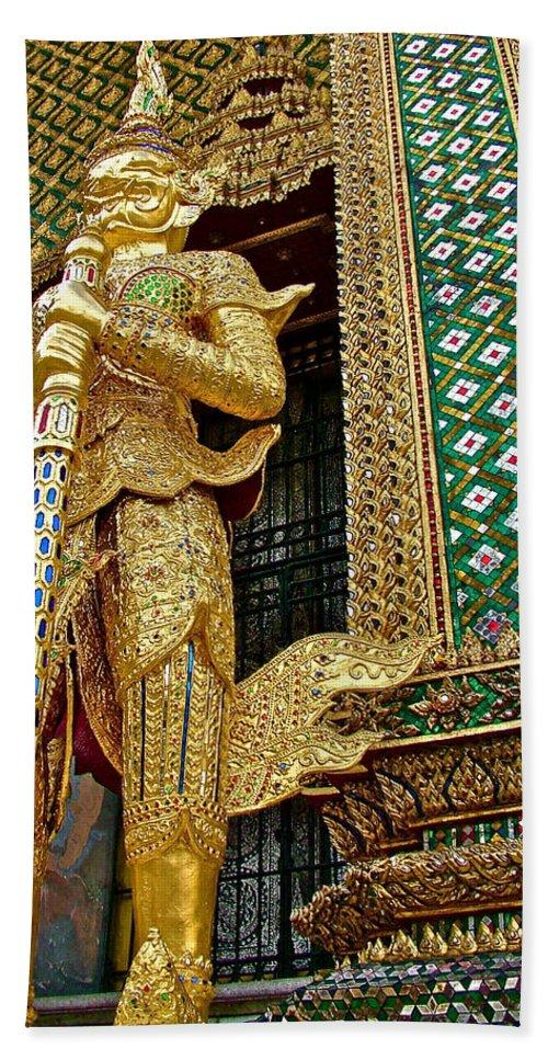 Phra Mondhop At Thai Pagoda At Grand Palace Of Thailand In Bangkok Hand Towel featuring the photograph Phra Mondhop At Thai Pagoda At Grand Palace Of Thailand In Bangkok by Ruth Hager
