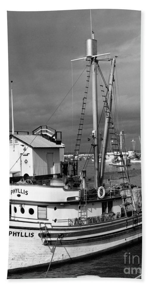 Phyllis Hand Towel featuring the photograph Phyllis Purse-seiner Monterey Wharf California Circa 1940 by California Views Archives Mr Pat Hathaway Archives