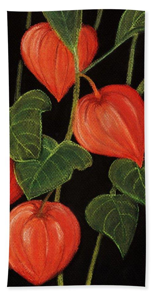 Plant Bath Towel featuring the painting Physalis by Anastasiya Malakhova