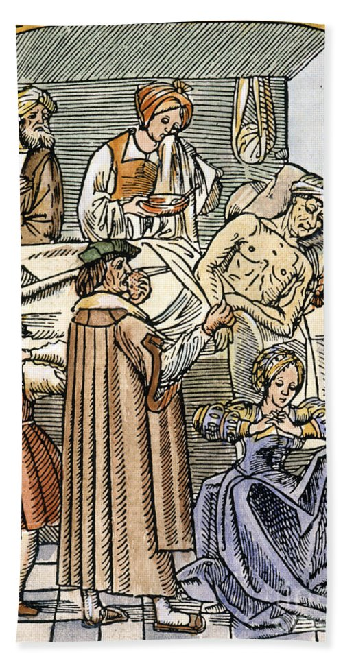 16th Century Bath Sheet featuring the photograph Physician & Plague Victim by Granger