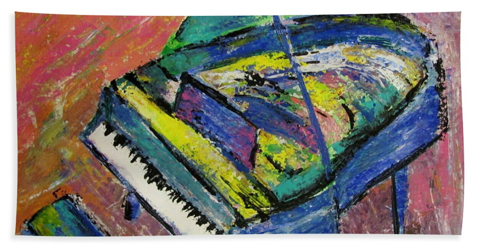 Piano Bath Towel featuring the painting Piano Blue by Anita Burgermeister