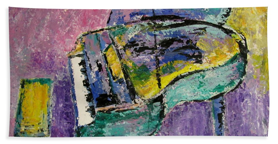 Impressionist Bath Towel featuring the painting Piano Green by Anita Burgermeister