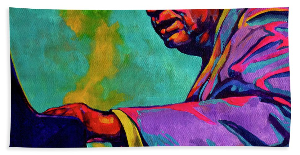 Acrylic Hand Towel featuring the painting Piano Player by Derrick Higgins