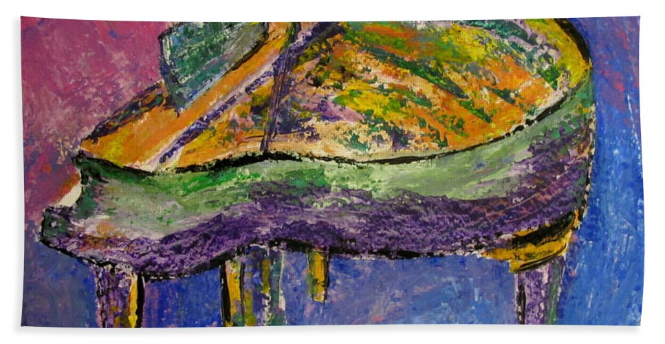 Impressionist Bath Towel featuring the painting Piano Purple by Anita Burgermeister