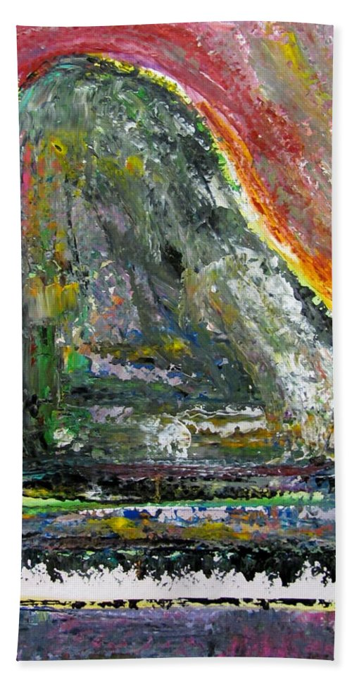 Impressionist Bath Sheet featuring the painting Piano Red by Anita Burgermeister