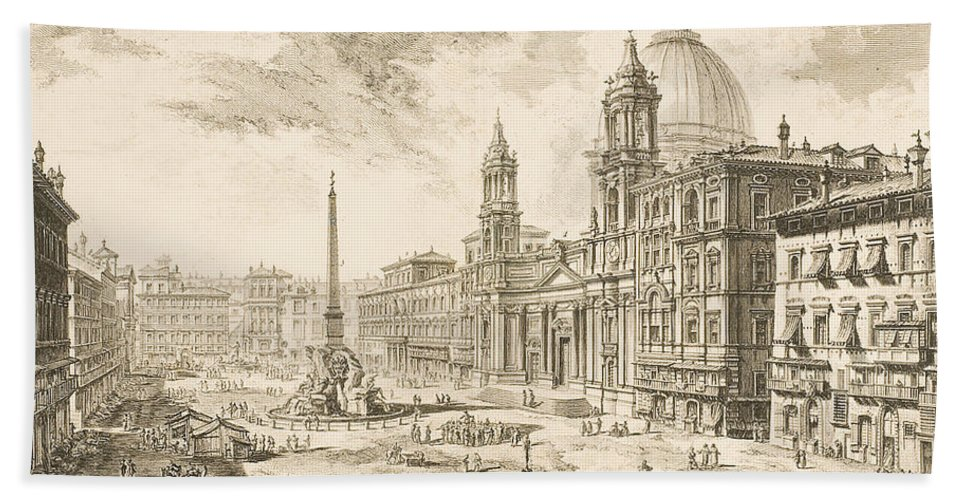 Piazza Navona Bath Towel featuring the drawing Piazza Navona by Giovanni Battista Piranesi
