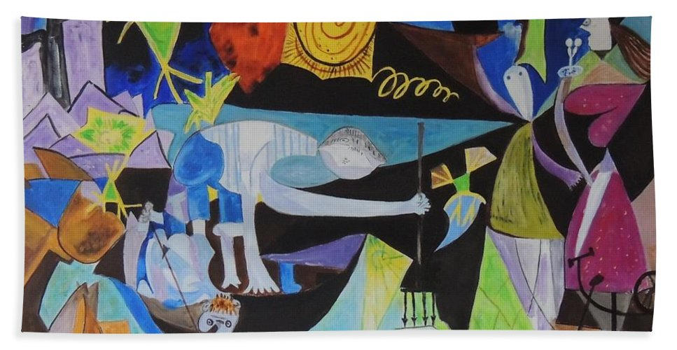 Picasso Bath Sheet featuring the painting Picasso  Night Fishing At Antibes by Shahid Zuberi