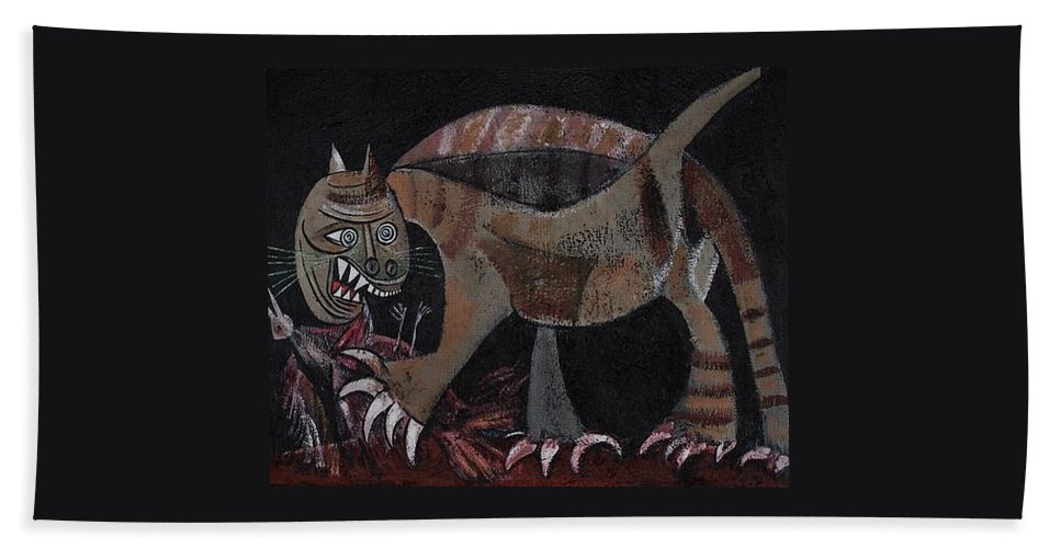 Picasso Hand Towel featuring the painting Picassos' Cat by Sue Wright