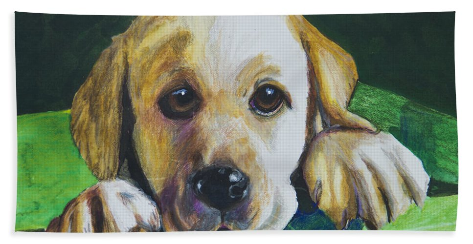 Yellow Lab Hand Towel featuring the painting Pick Me by Roger Wedegis