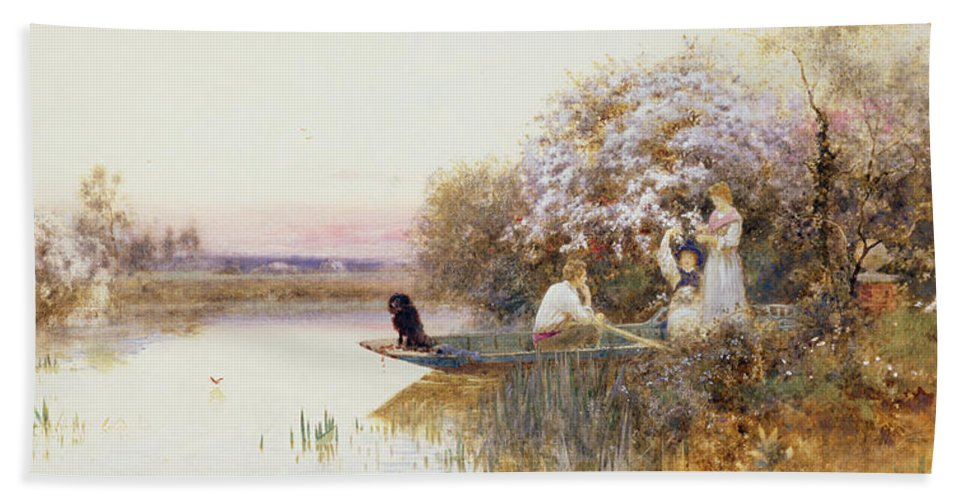 Landscape Bath Sheet featuring the painting Picking Blossoms by Thomas James Lloyd