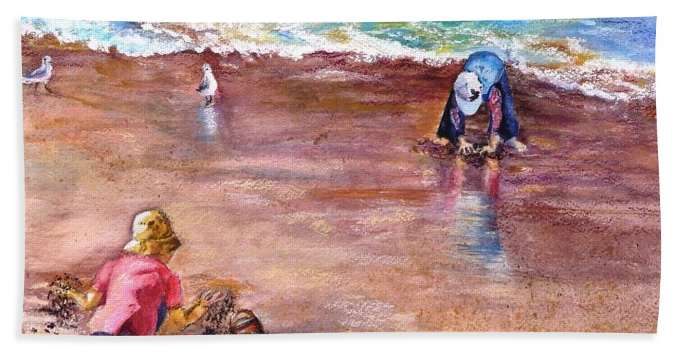 Seascape Bath Sheet featuring the painting Picking Up Pebles by Marieve Ortiz