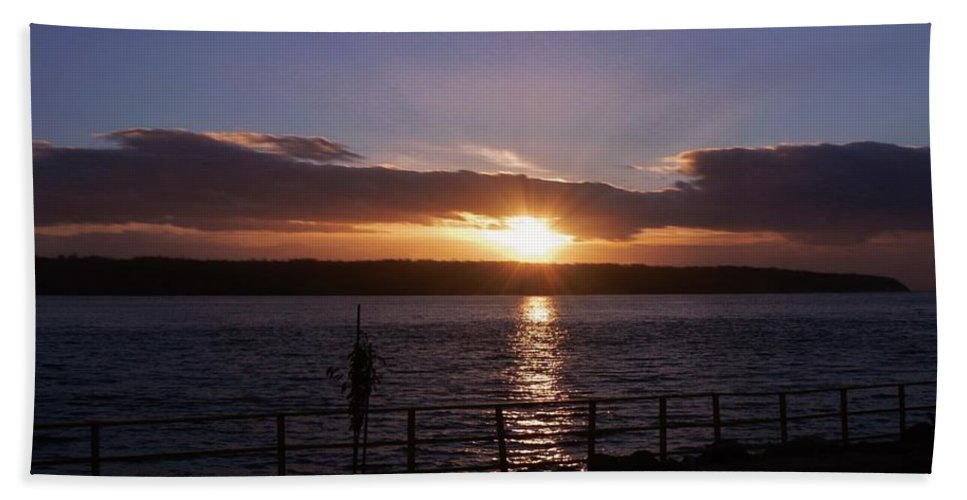Picnic Sunset Vancouver Island Hand Towel featuring the photograph Picnic Sunset Vancouver Island by Barbara St Jean