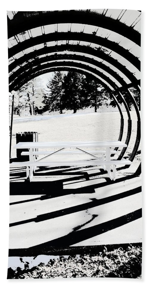 Park Bench Hand Towel featuring the photograph Picnic Table And Gazebo by Ric Bascobert