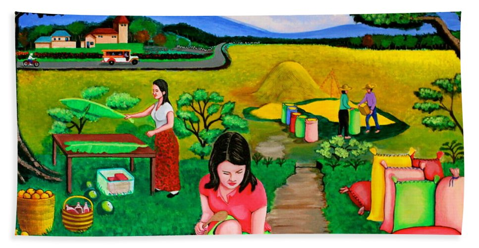 Cookout Hand Towel featuring the painting Picnic With The Farmers by Cyril Maza