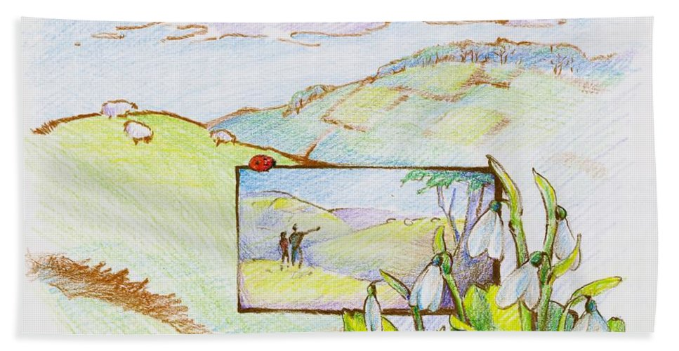 Hill Hand Towel featuring the drawing Picture In Picture by K M Pawelec