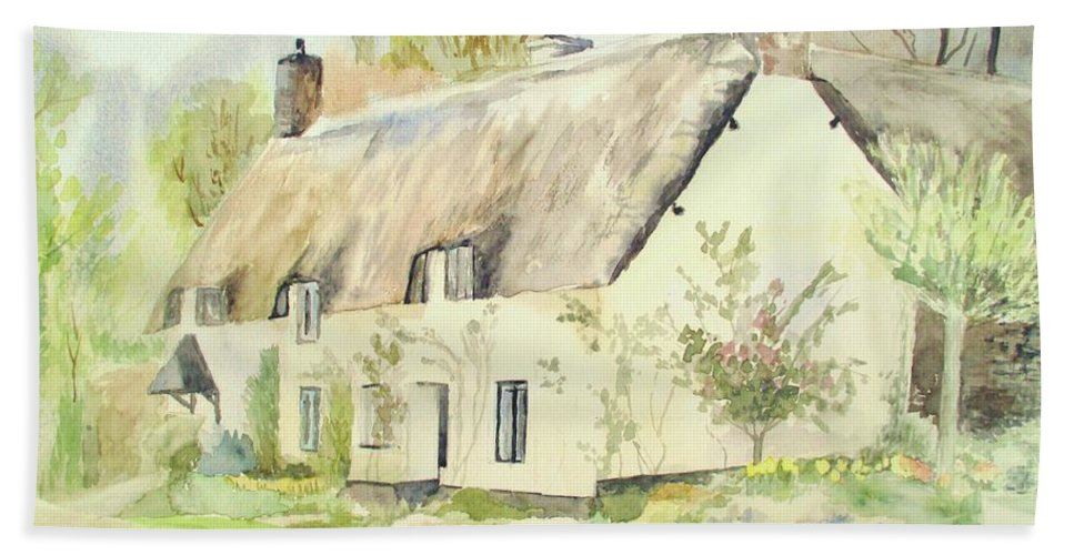 Dunster Hand Towel featuring the painting Picturesque Dunster Cottage by Martin Howard