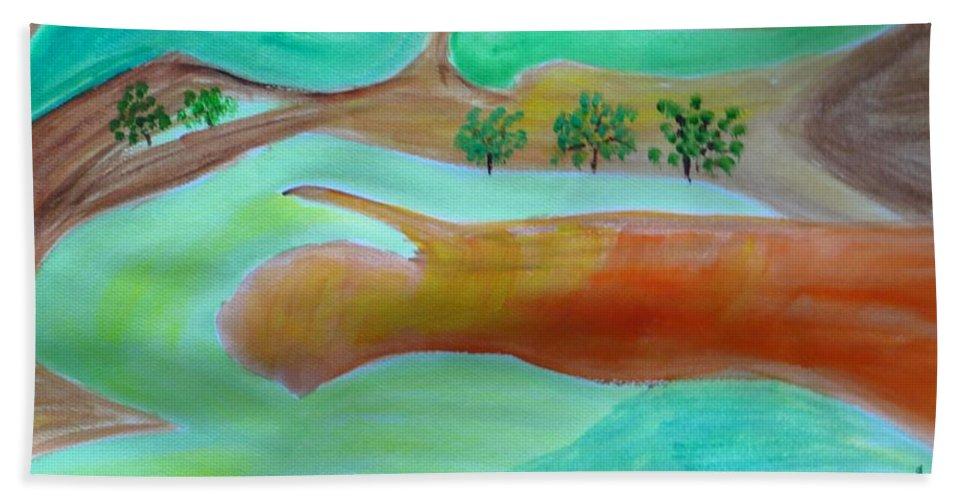 Picturesque Landscape Bath Sheet featuring the painting Picturesque Landscape by Sonali Gangane