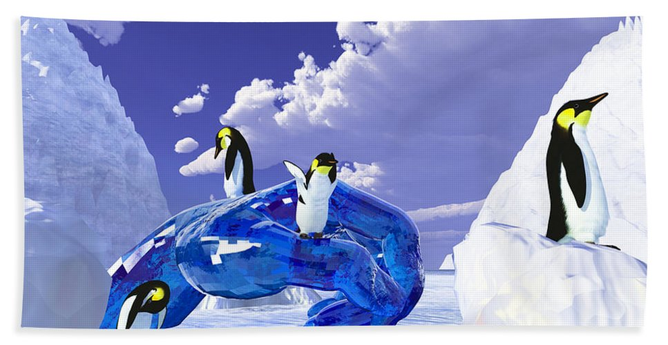 Nature Hand Towel featuring the digital art Piece Of Ice by Eric Nagel