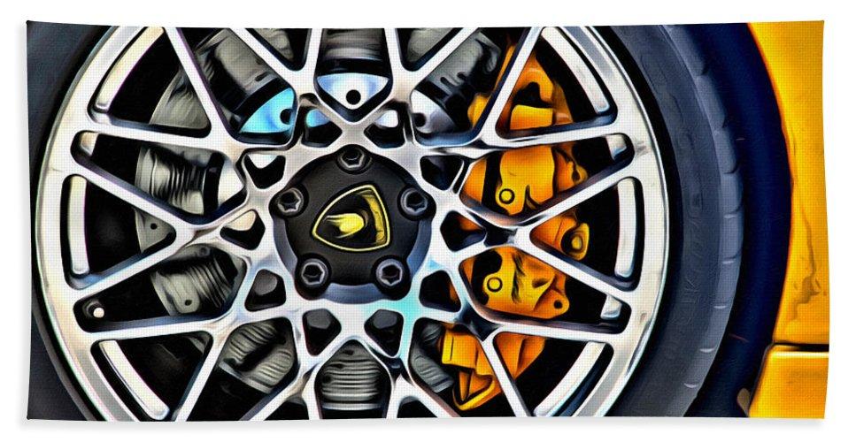 Lamborghini Car Auto Tire Brakes Bath Sheet featuring the photograph Piece Of Yellow Lamborghini by Alice Gipson