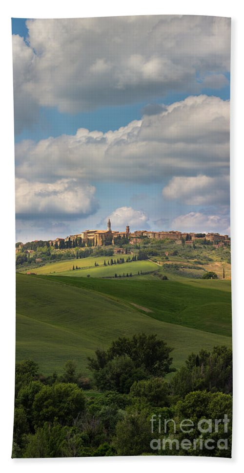 Michele Bath Sheet featuring the photograph Pienza In The Afternoon Panorama by Michele Steffey