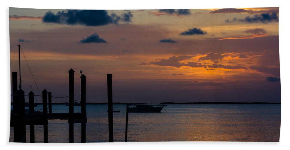 Anchored Bath Sheet featuring the photograph Pier At Buttonwood Sound by Ed Gleichman