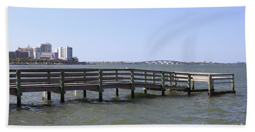 Pier Bath Sheet featuring the photograph Pier North Of Sarasota by Lee Serenethos