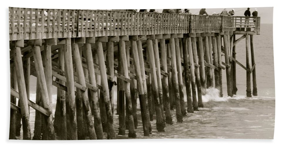 Flagler Beach Florida Pier Scenic Hand Towel featuring the photograph Pier View by Alice Gipson