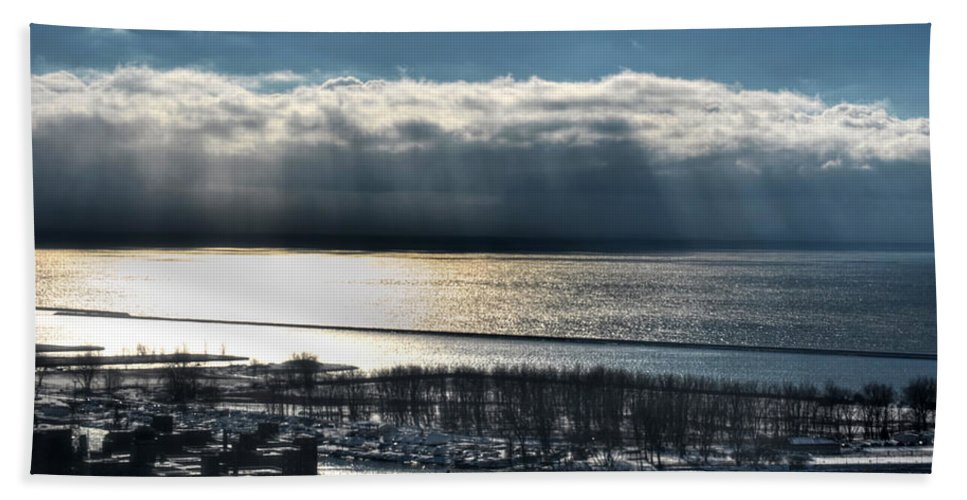 Winter Hand Towel featuring the photograph Piercing Cold Rays Upon The Waters Winter 2013 by Michael Frank Jr