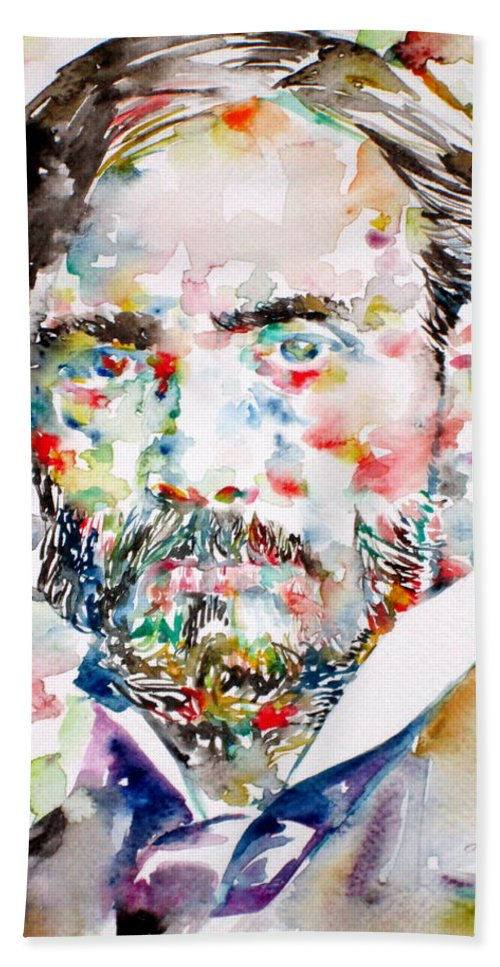 Renoir Bath Sheet featuring the painting Pierre-auguste Renoir Watercolor Portrait by Fabrizio Cassetta
