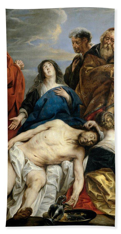 Jacob Jordaens Bath Sheet featuring the painting Pieta by Jacob Jordaens
