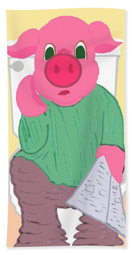 Pig Hand Towel featuring the drawing Pig On The Hopper by Pharris Art