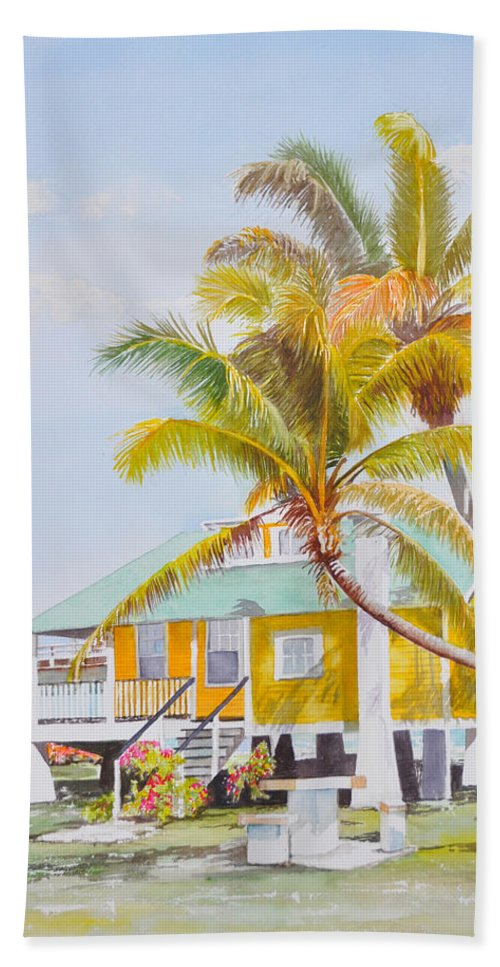Florida Keys Bath Sheet featuring the painting Pigeon Key - Home by Terry Arroyo Mulrooney