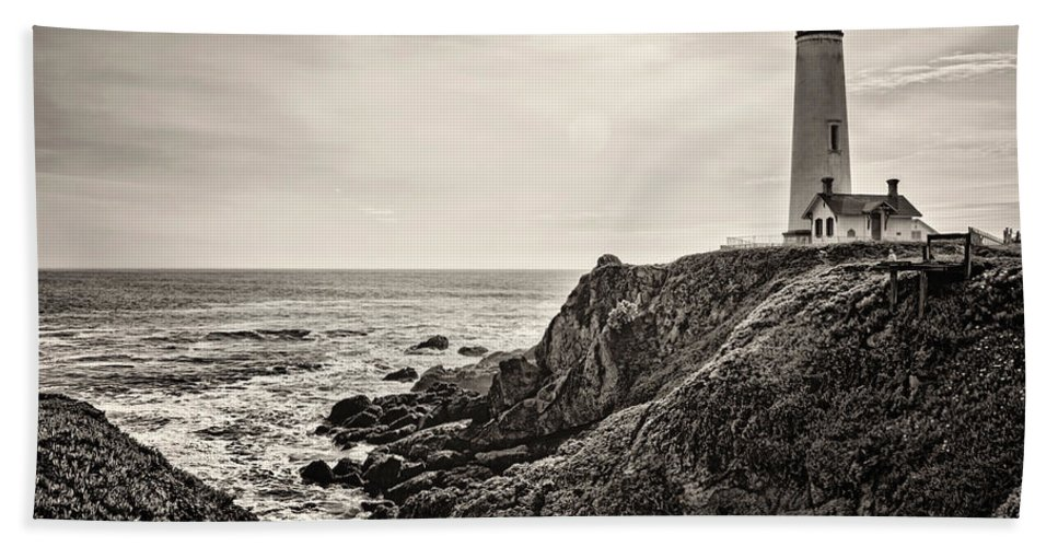 Lighthouse Bath Sheet featuring the photograph Pigeon Point Light by Heather Applegate